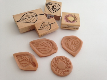 CraftyGoat's Notes: Make reverse molds of your rubber stamps using Super Sculpey